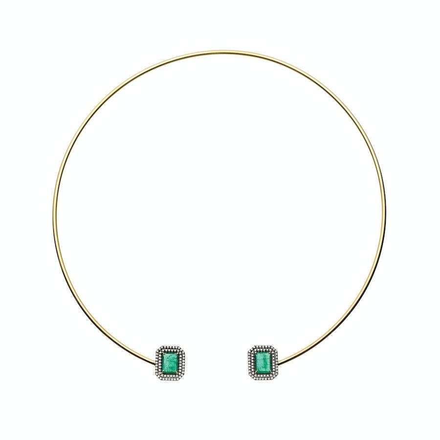 Jemma Wynne 18k yellow gold, Gemfields Zambian emerald, and diamond collar