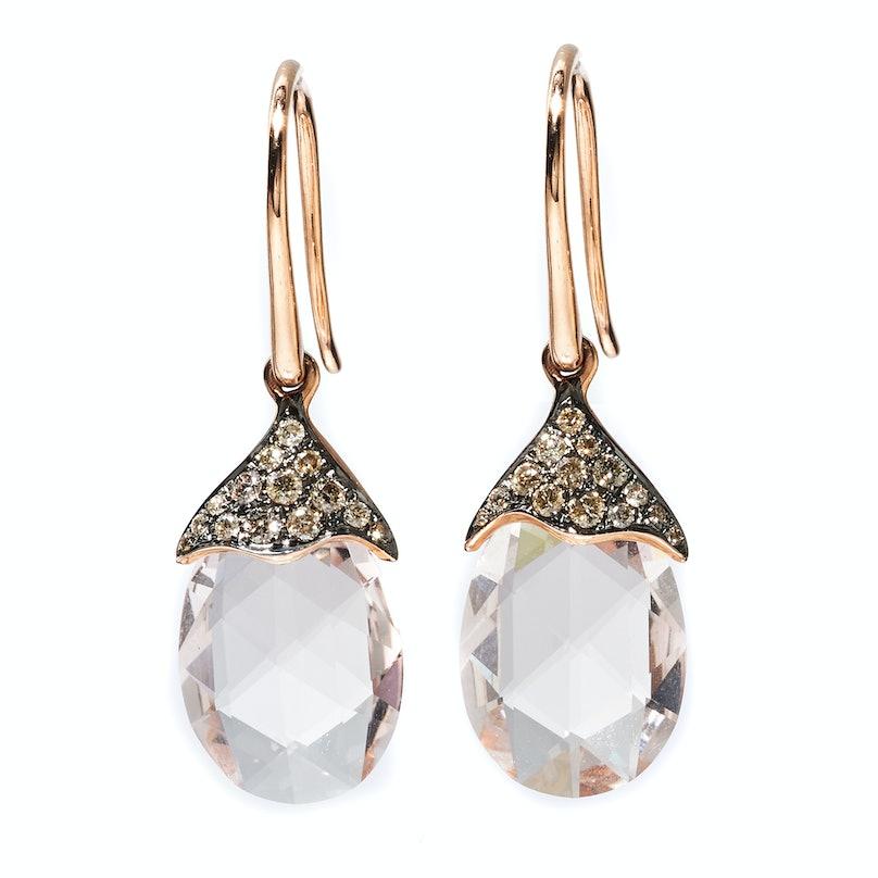 Astley Clarke gold, morganite, and cognac diamond earrings