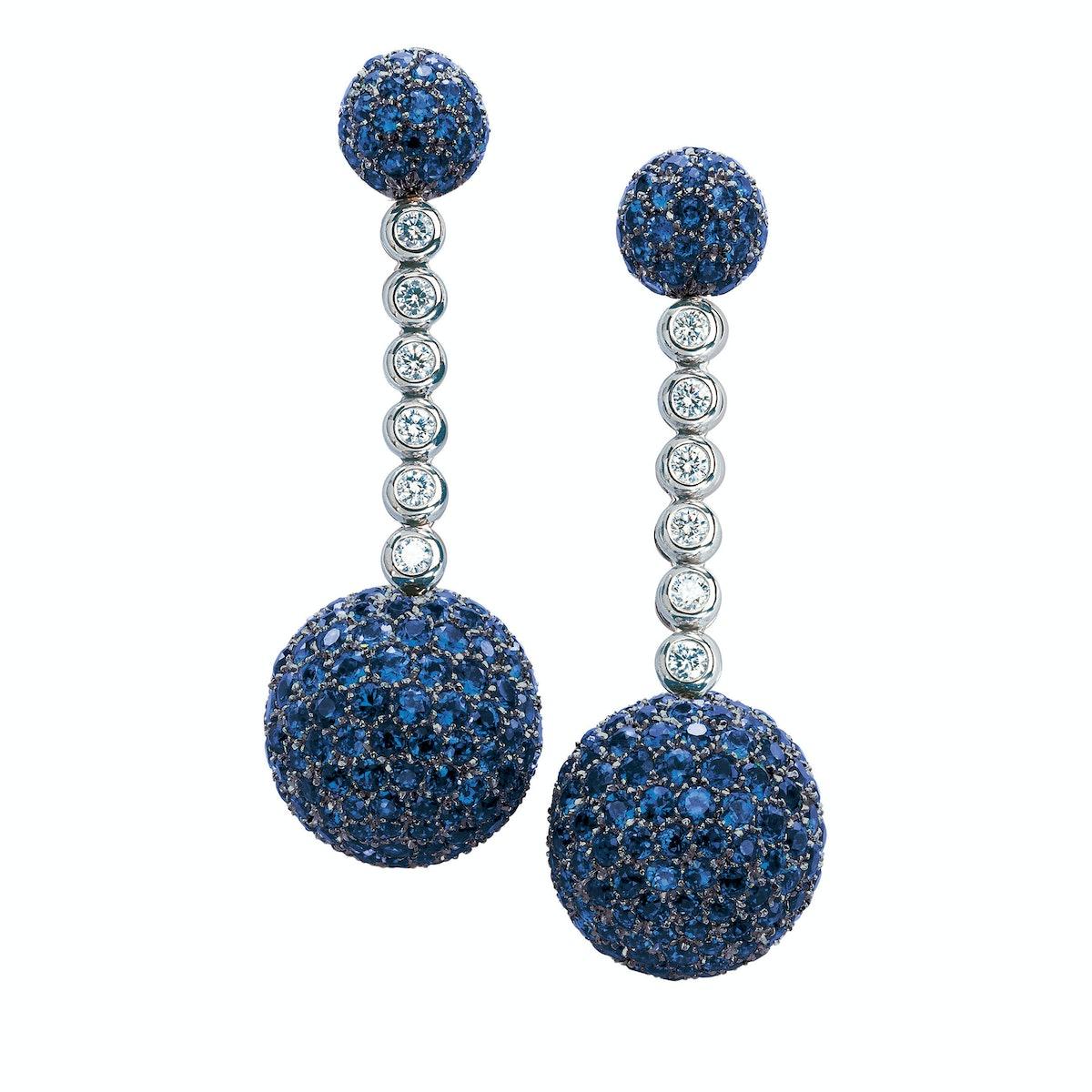 de Grisogono gold, sapphire, and diamond earrings