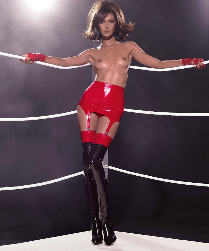 Joan Smalls photographed by Steven Meisel, styled by Carine Roitfeld for the 2015 Pirelli Calendar