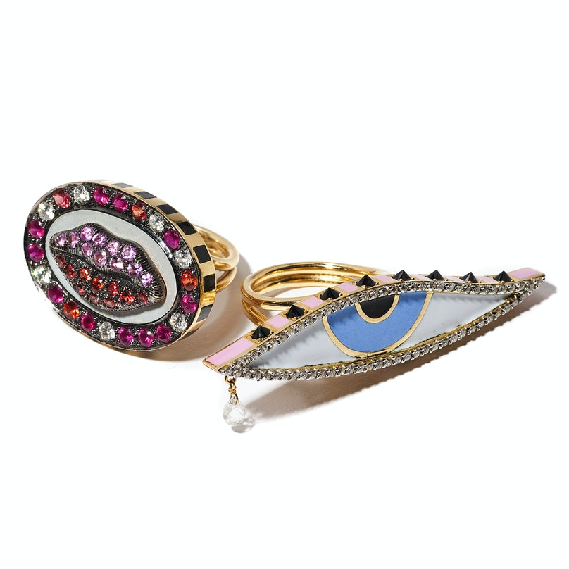 Holly Dyment gold, sapphire, ruby, and diamond lip ring