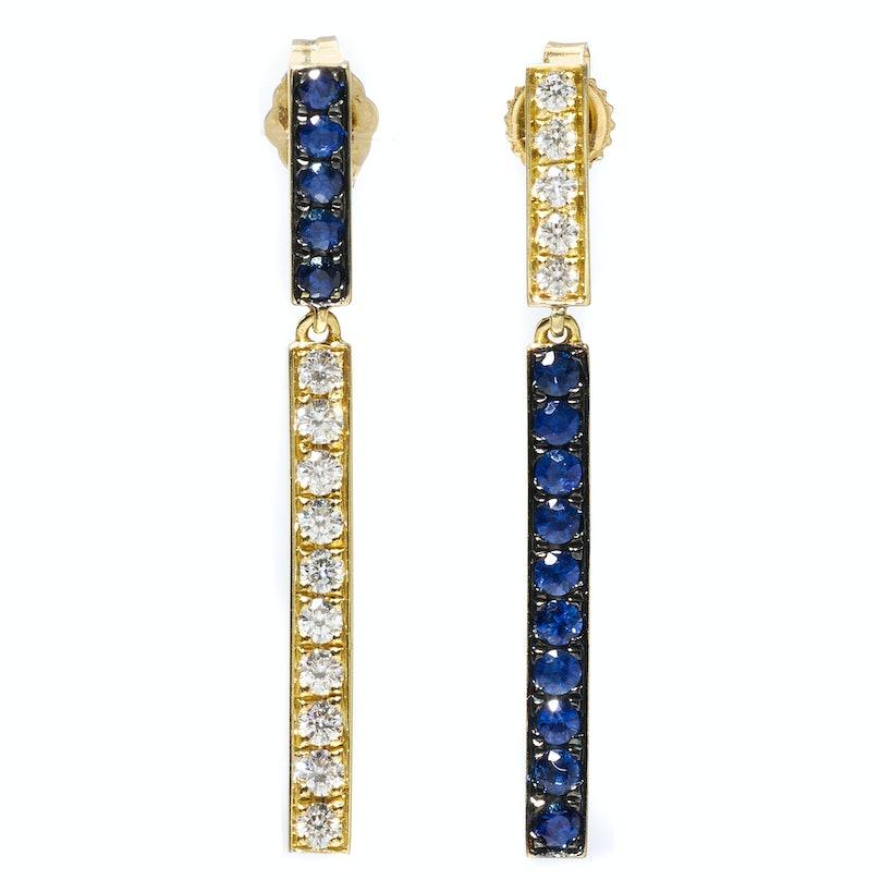 Finn gold, sapphire, and diamond earrings
