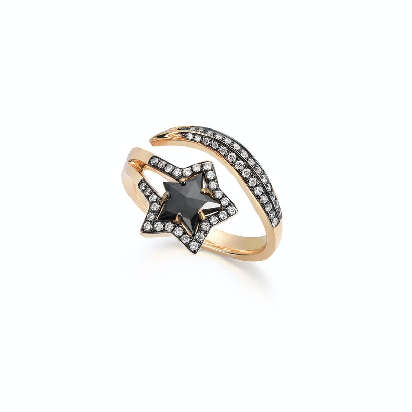 Tomasz Donocik 18k gold, white and black diamond Shooting Star ring