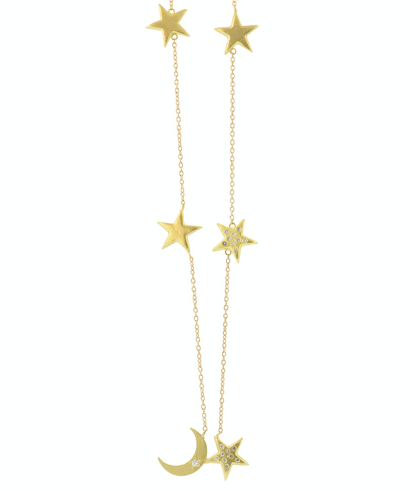 Andrea Fohrman 18k gold moon & stars necklace with white diamonds