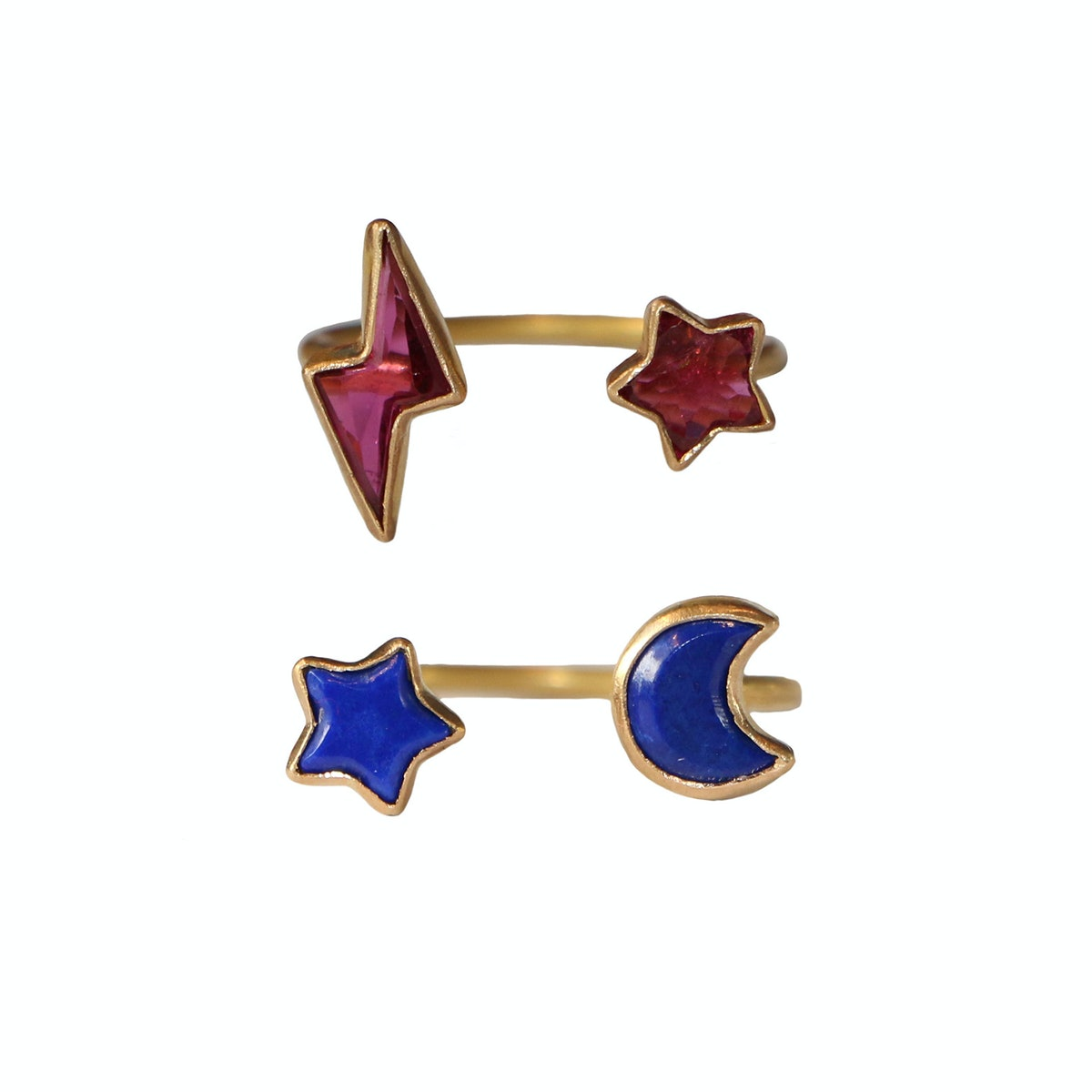 Marie Helene de Taillac rings 22k Yellow Gold and Lapis lazuli Celeste Duet ring