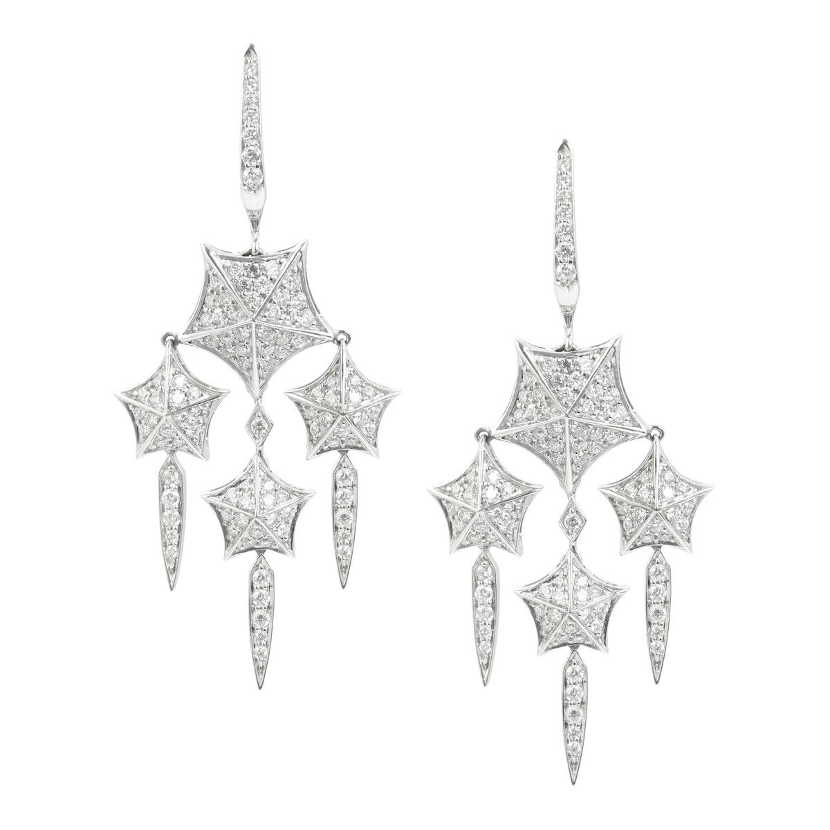 Stephen Webster 18k white gold earrings set with white diamond pave earrings