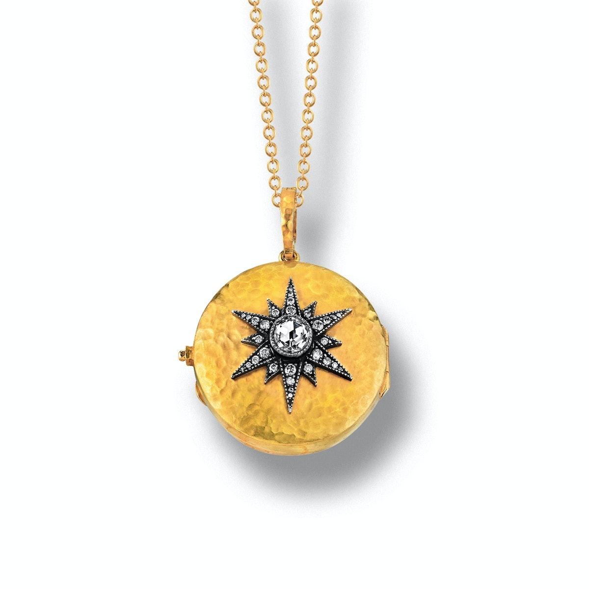 Arman Sarkisyan 22k yellow gold, silver, and diamond locket