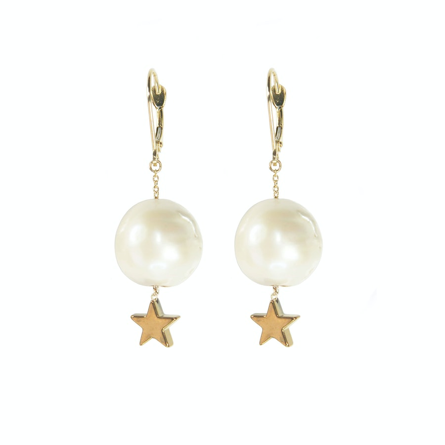 McKenzie Liautaud 18k gold and freshwater pearl earrings