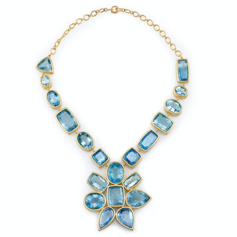 Irene Neuwirth gold and aquamarine necklace