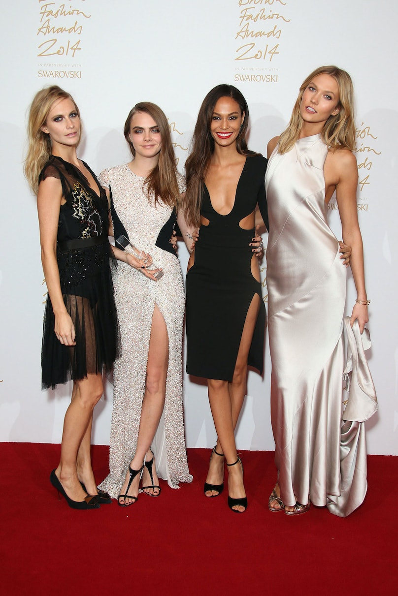 Poppy Delevingne, Cara Delevingne, Joan Smalls, and Karlie Kloss