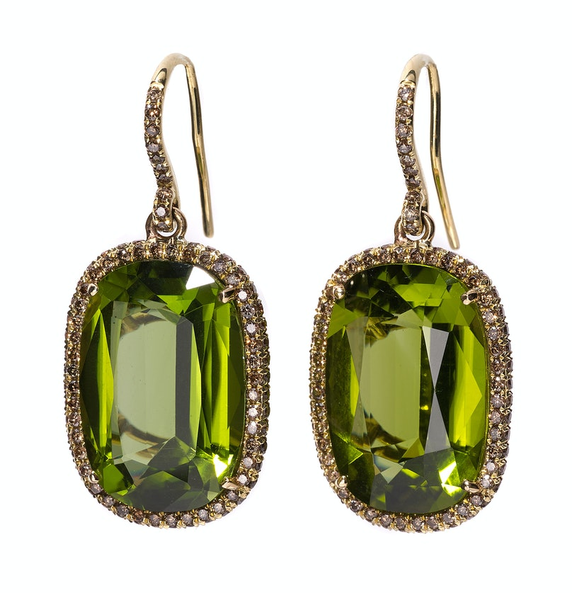 Mish gold, peridot, and diamond earrings