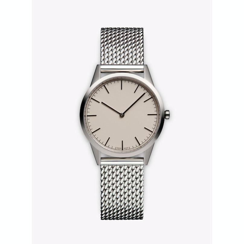 Uniformwares polished steel watch