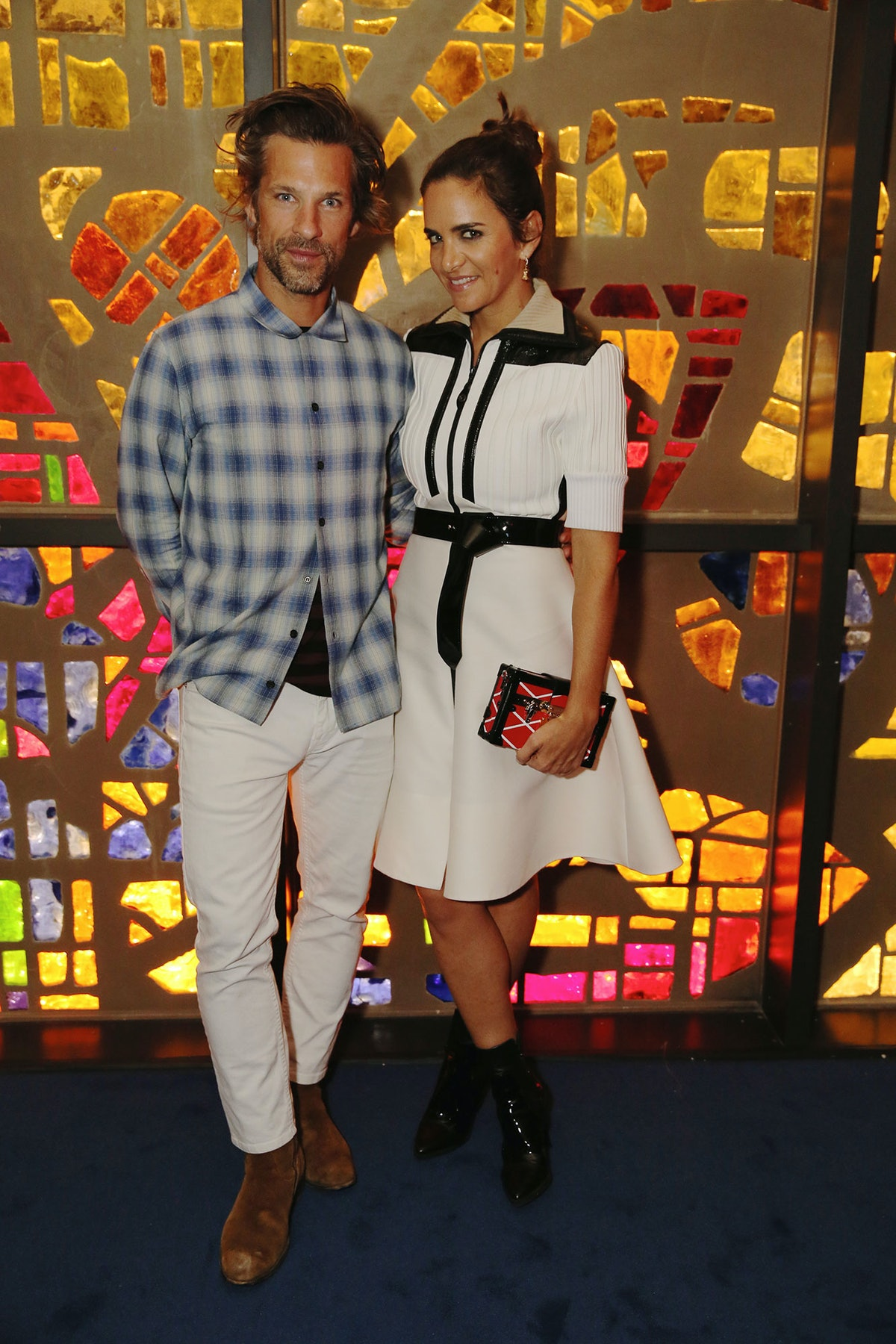 Aaron Young and Laure Heriard Dubreuil at Louis Vuitton's celebration of Pierre Paulin's Playing wit...