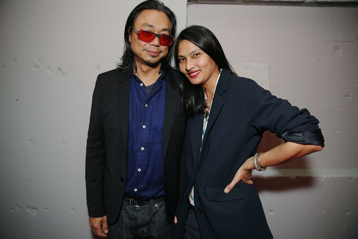 Rikrit Tiravanija and Rose Chalalai Singh attend Louis Vuitton's celebration of Pierre Paulin's Play...