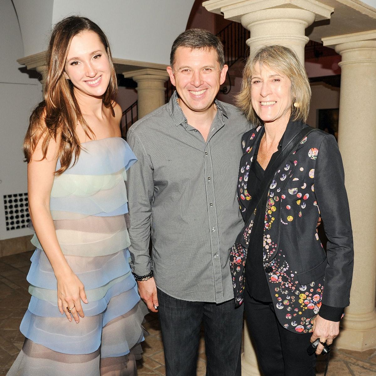 Maria Baibakova, Linda Yablonsky, and Oleg Babyakov attend Maria Baibakova's housewarming and supper...