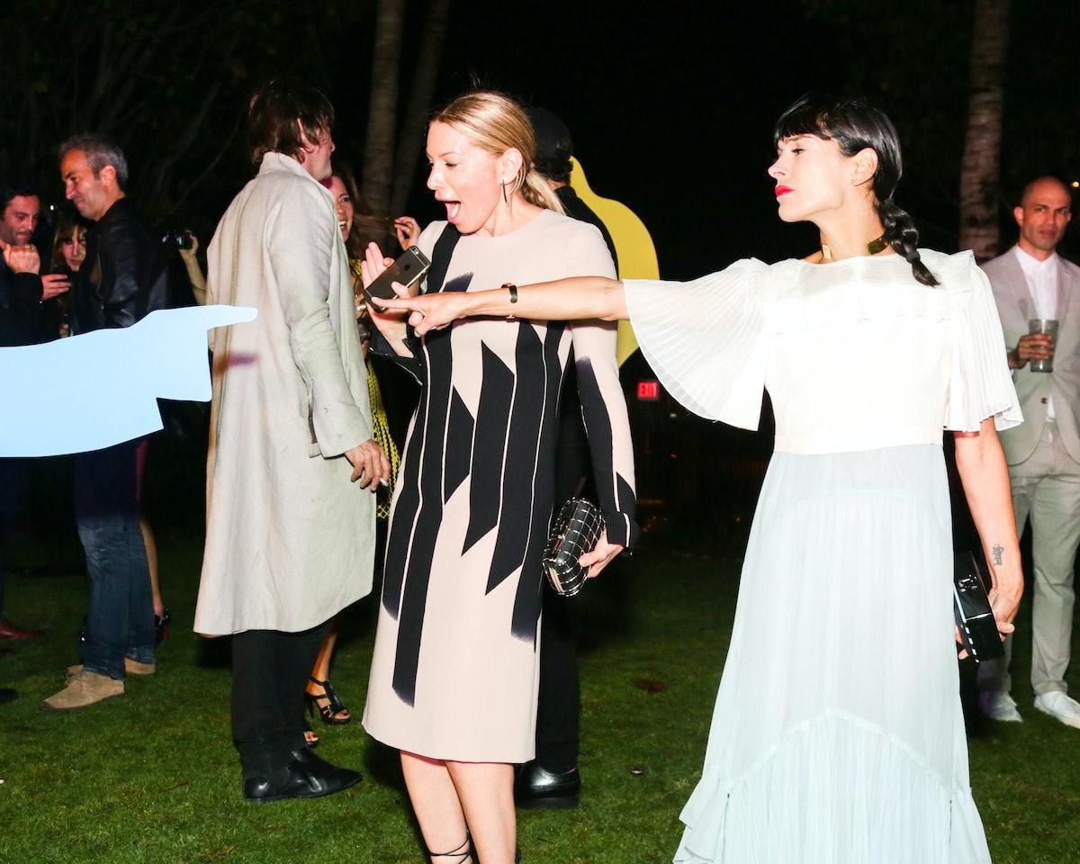 Jennifer Fisher and Athena Calderone attend the Visionaire 64 Art John Baldessari party