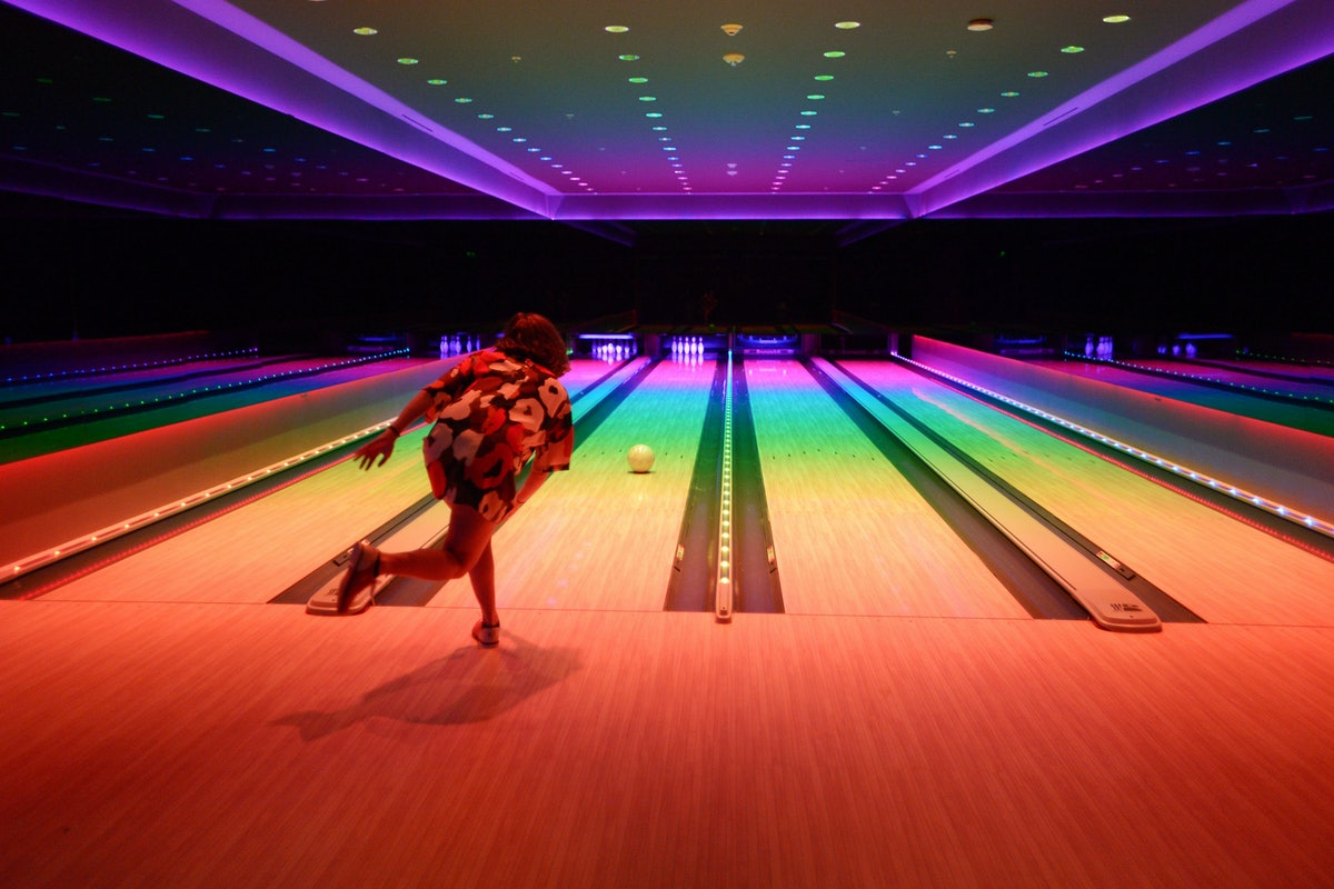 Bowling at Marilyn Minter's book release party