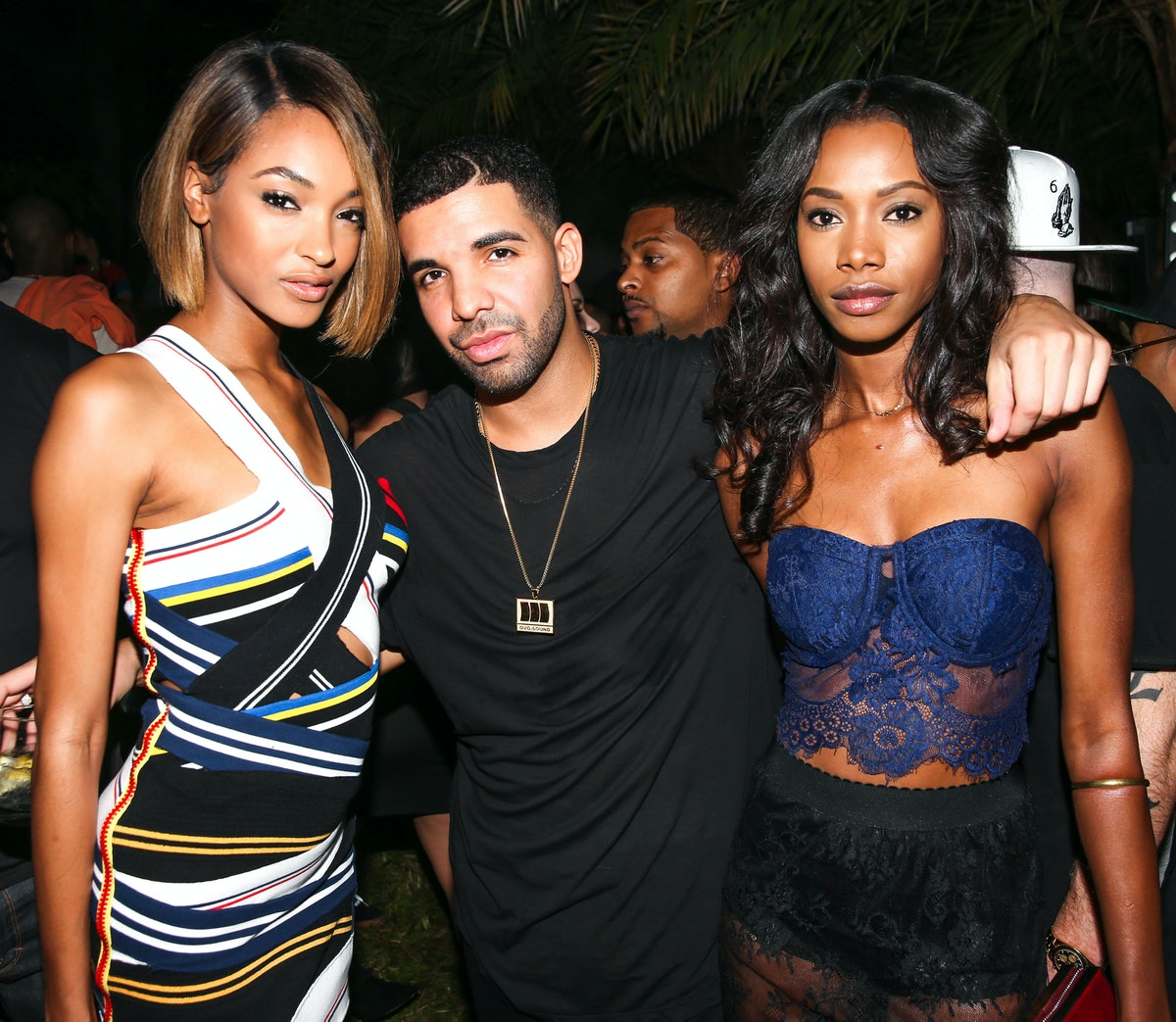 Jourdan Dunn, Drake, and Segal Curry attend the PPP Muzik Mansion party