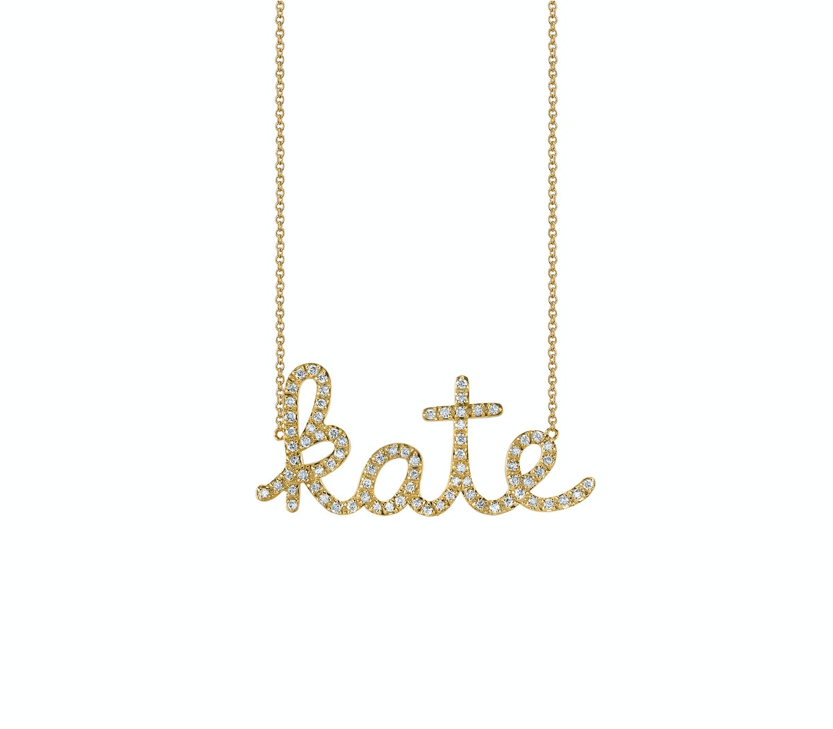 Sydney Evan 14k yellow gold with pave diamond small nameplate necklace