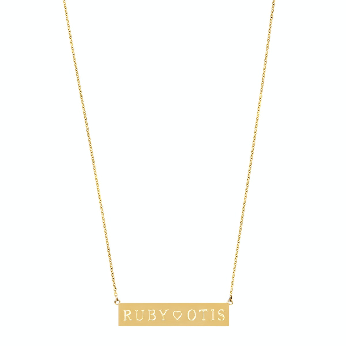 Jennifer Meyer 18k yellow gold personalized nameplate necklace