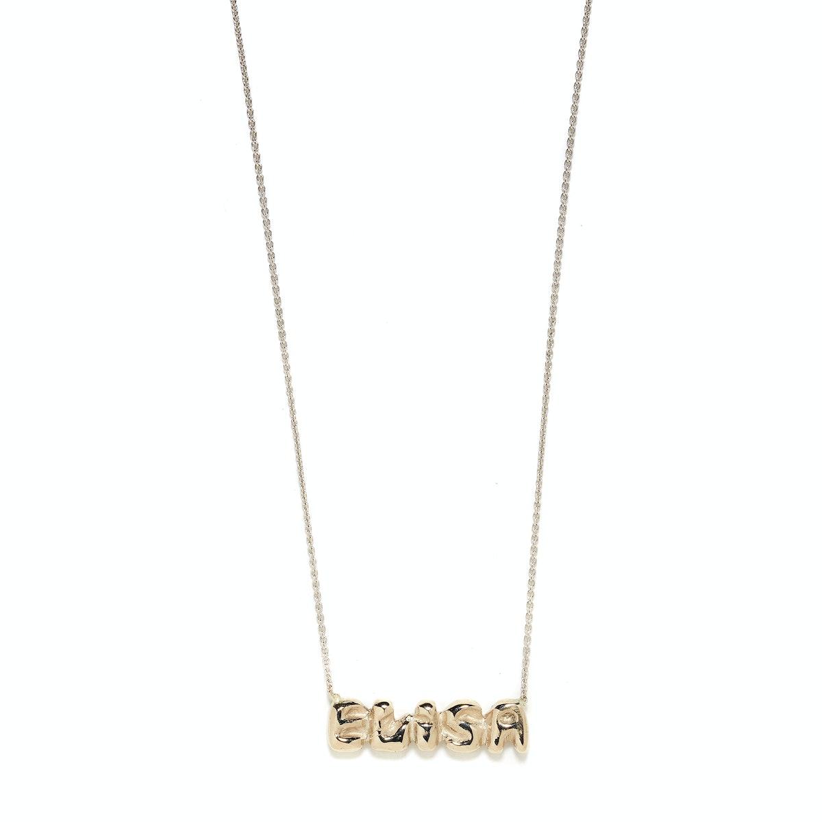 Elisa Solomon 18 karat white gold name plaque necklace