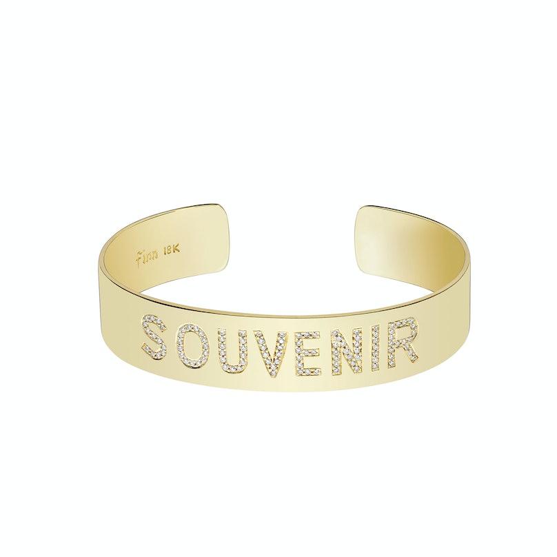 "Finn 18k gold cuff with pave diamond letter ""Souvenir"""