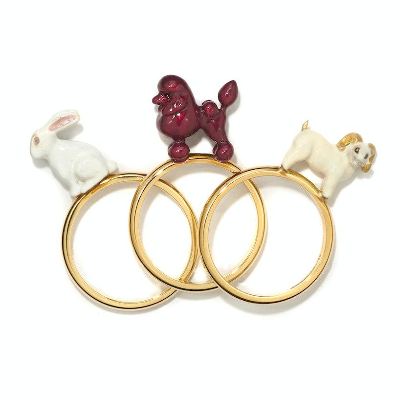 Solange Azagury-Partridge gold and glass enamel rings