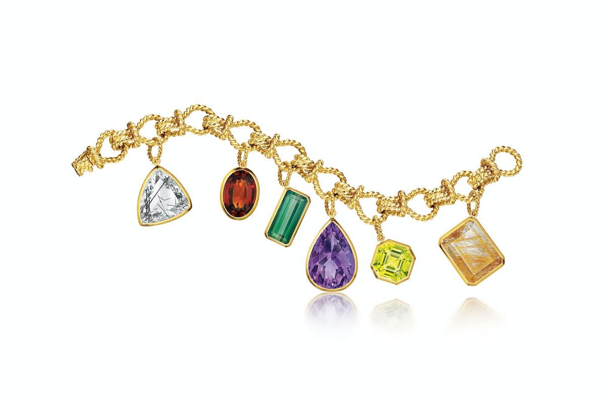 Verdura 18k yellow gold, rock crystal, amethyst, lemon quartz, peridot, rutilated quartz, and citrine bracelet