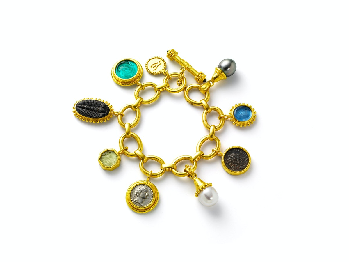 Elizabeth Locke gold, Venetian glass intaglio, pearl, ancient coin, and Trilobite bracelet