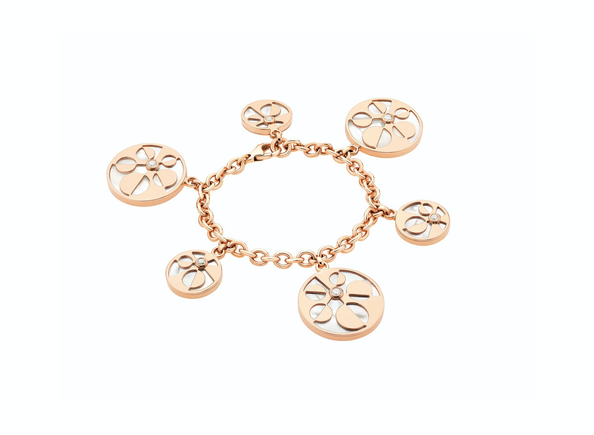 Bulgari 18k pink gold, mother of pearl, and diamond bracelet