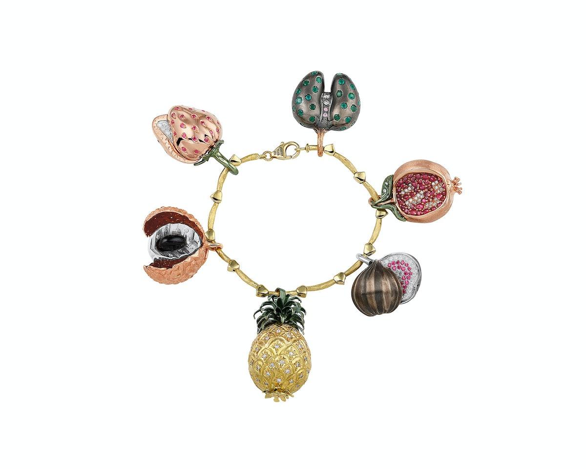 Lexmond vs. Lexmond for Royal Asscher 18k yellow gold, ruby, galalite, pink sapphire, Emerald, and diamond bracelet