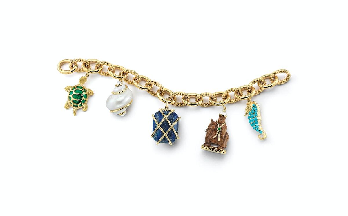 Seaman Schepps 18k yellow gold, malachite, shell, pearl, lapis, walnut wood, emerald, and turquoise bracelet