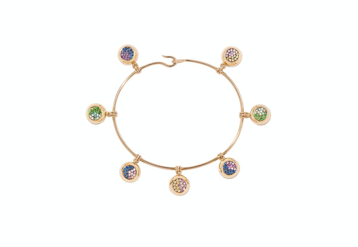 Aurelie Biederman 18k gold, sapphire, amethyst, tsavorite, and tourmaline bracelet