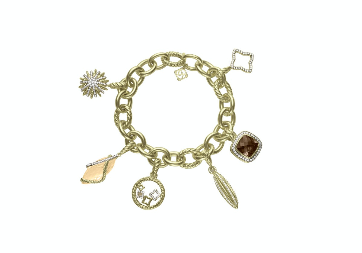 David Yurman 18k yellow gold, champagne citrine, and diamond bracelet