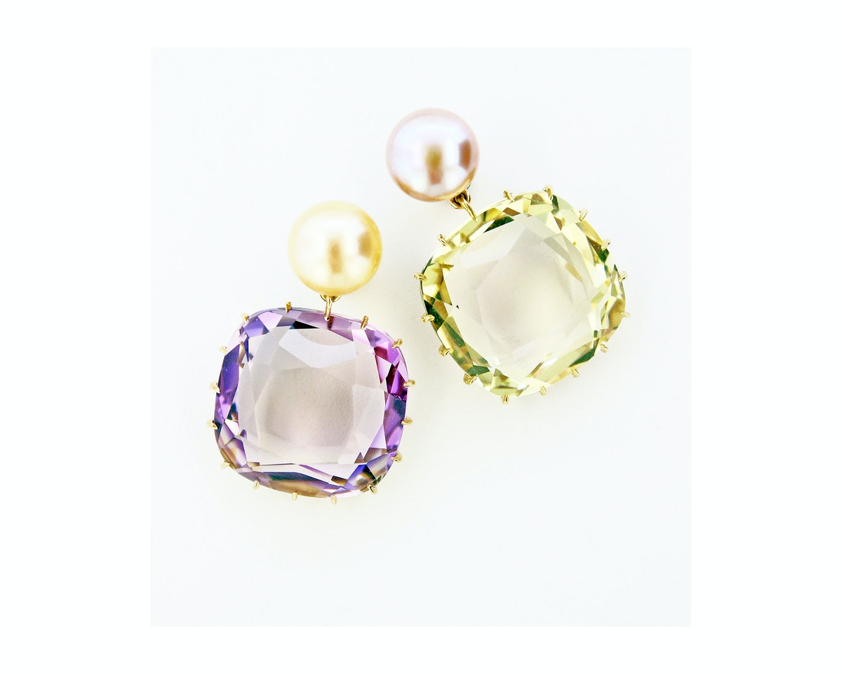 James de Givenchy for Taffin 18k rose and yellow gold, ametrine, champagne pearl and lavender pearl ...