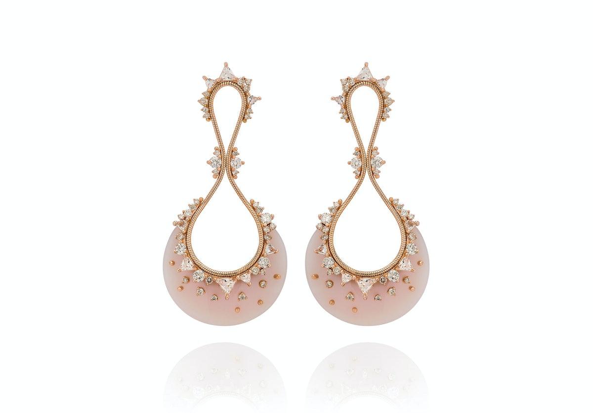 Fernando Jorge 18k rose gold, diamonds, clear topaz and pink opal earring