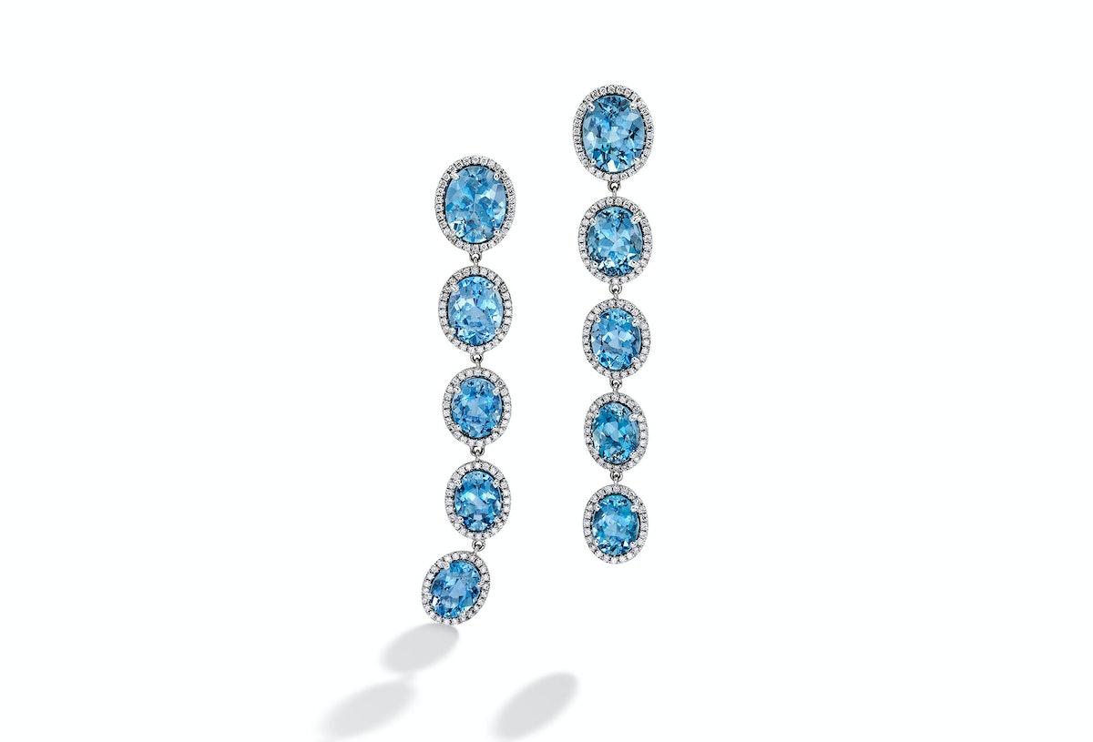Mish New York 1k white gold, aquamarine and diamond comet tail earrings