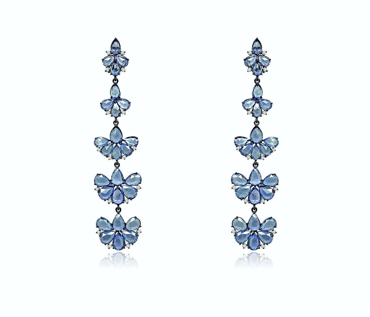 Sutra Jewels 18k black, gold, and blue sapphire earrings
