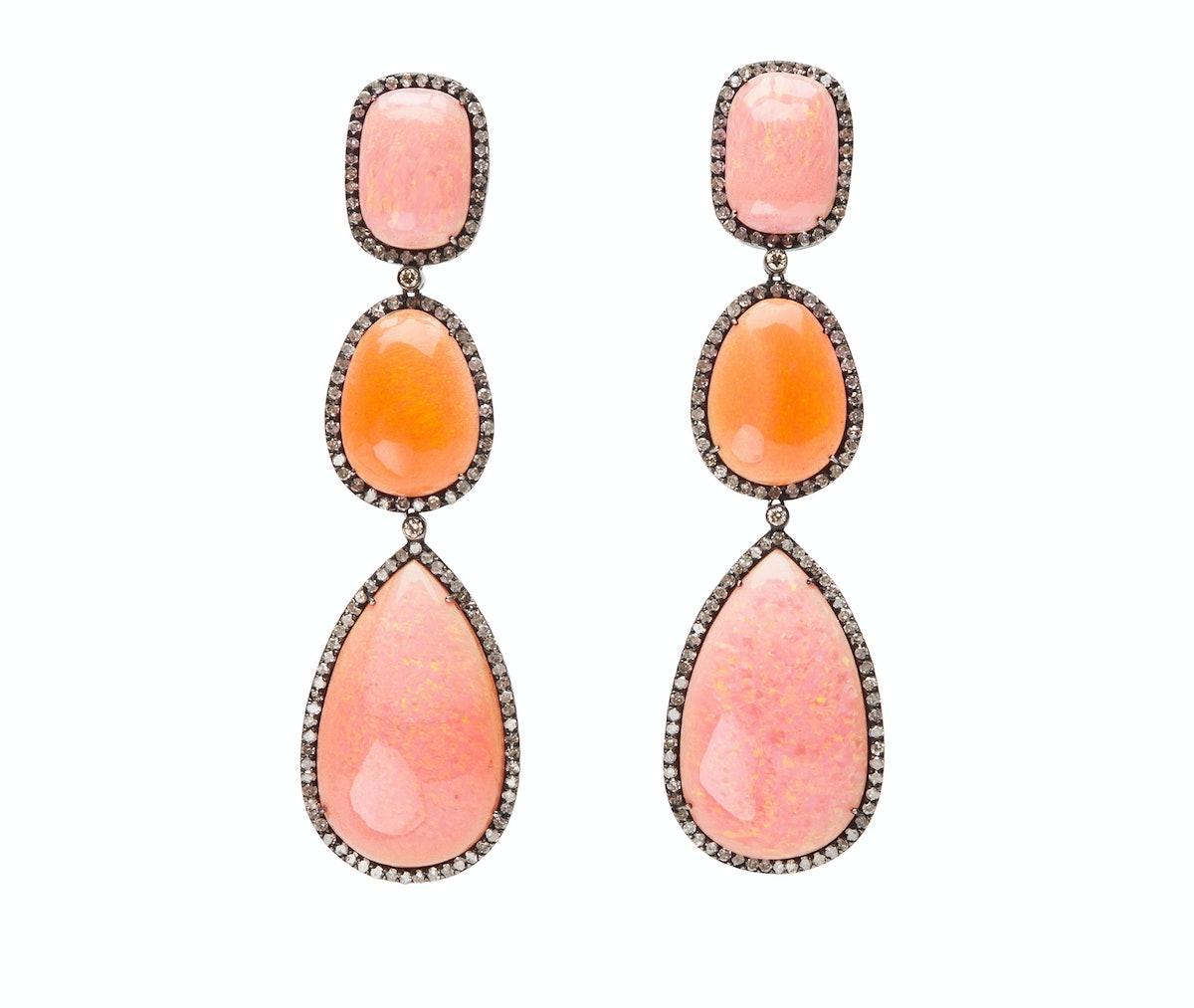 Lauren Craft 18k gold, peach opals, Ethiopian opal and champagne diamond drop earrings