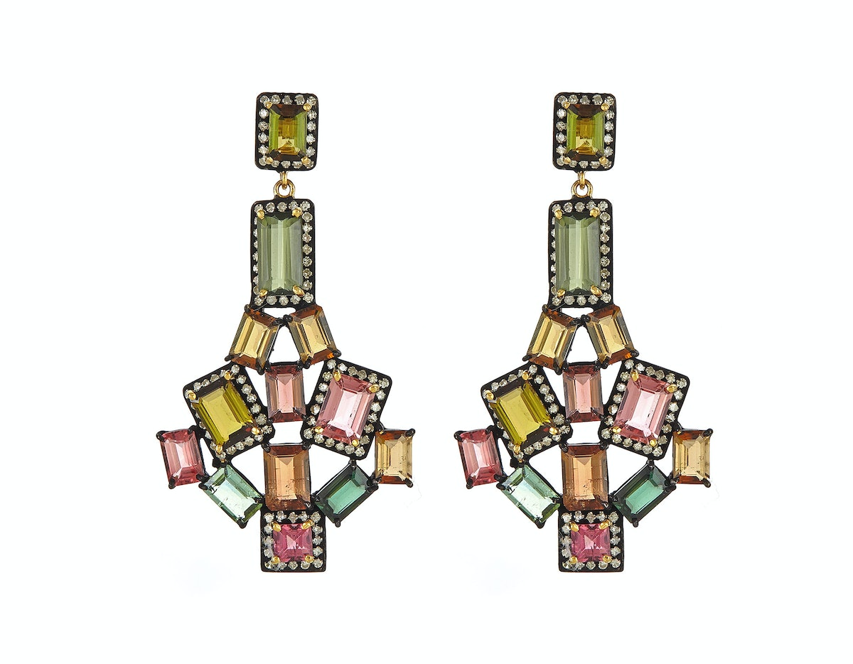 J. Hadley multicolored tourmalines and pave diamond earrings