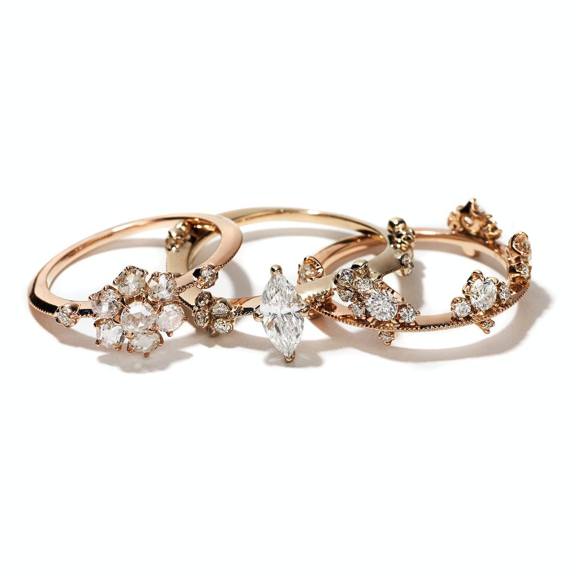 Yoshinobu Kataoka gold and diamond rings