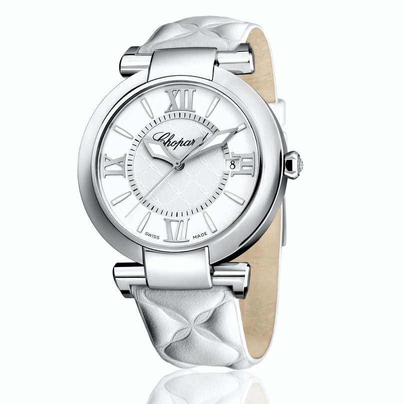 Chopard stainless steel, moonstone, and diamond watch