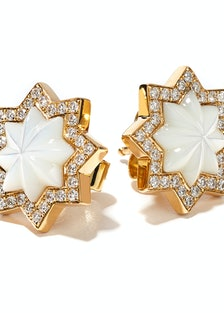 Octium gold, mother-of-pearl, and diamond earrings