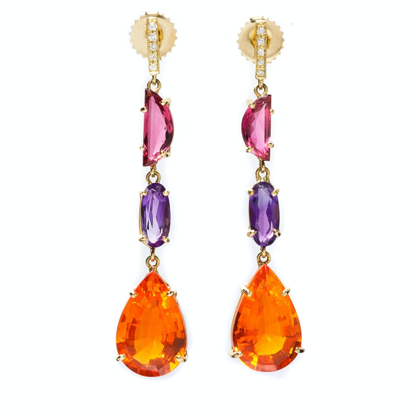 Suzanne Felsen gold, opal, tourmaline, amethyst, and diamond earrings