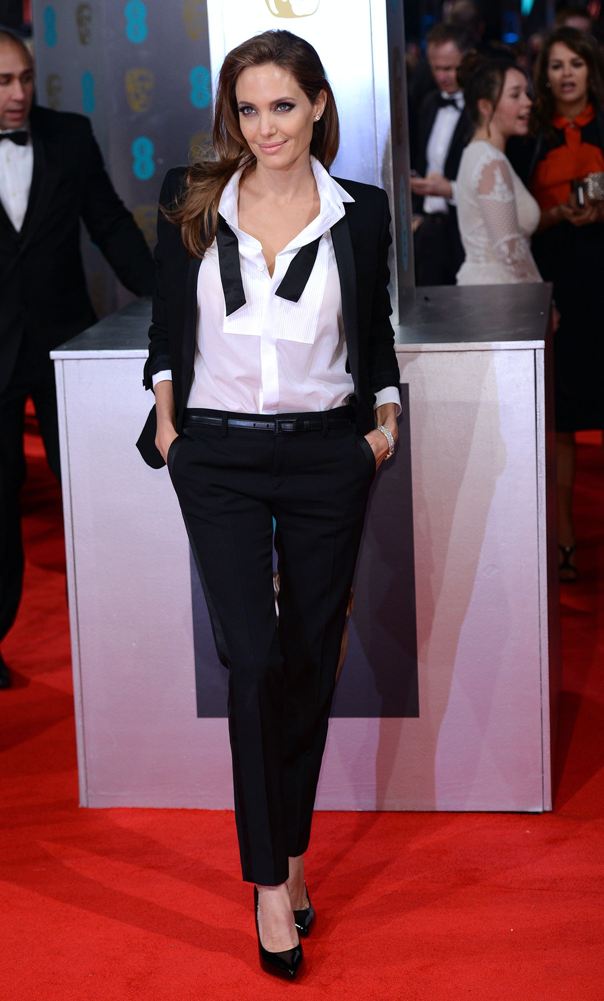 Angelina Jolie in a tuxedo