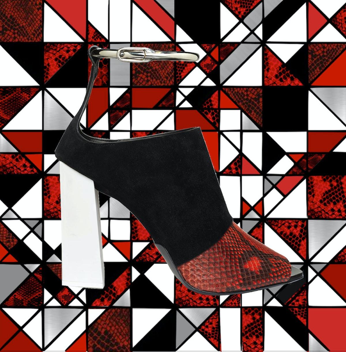Proenza Schouler black suede and python heel