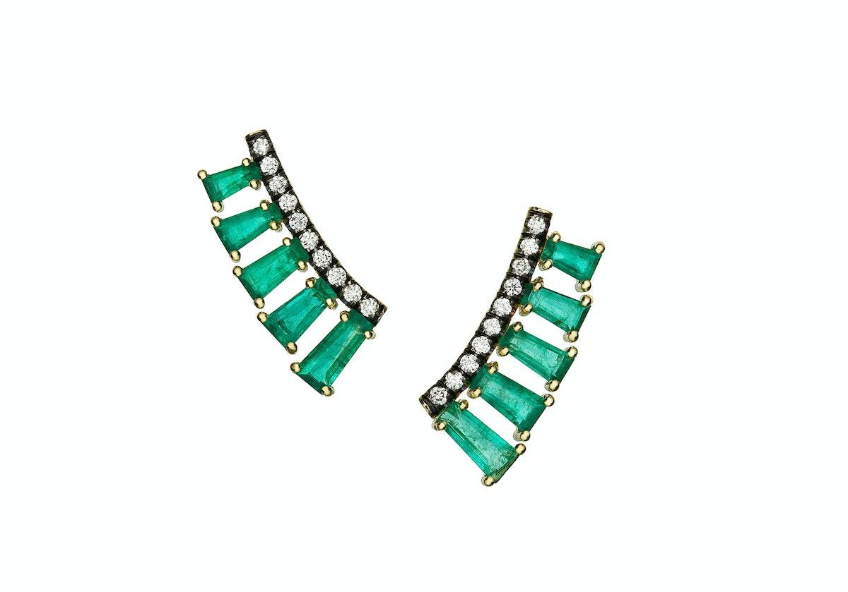 Jemma Wynne 18k gold, emerald, and diamond earrings