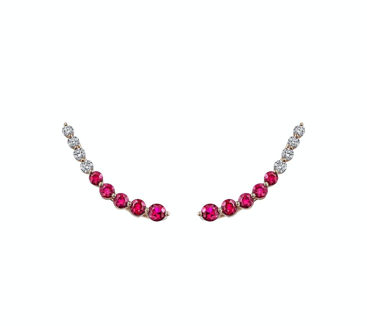 Anita Ko 18k rose gold, ruby, and diamond earrings