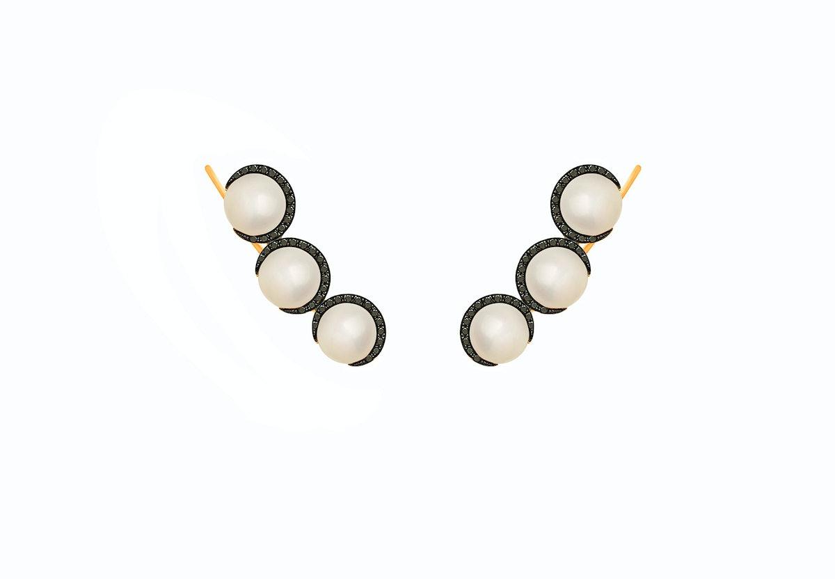 Christina Debs 18k pink gold and black diamond earrings