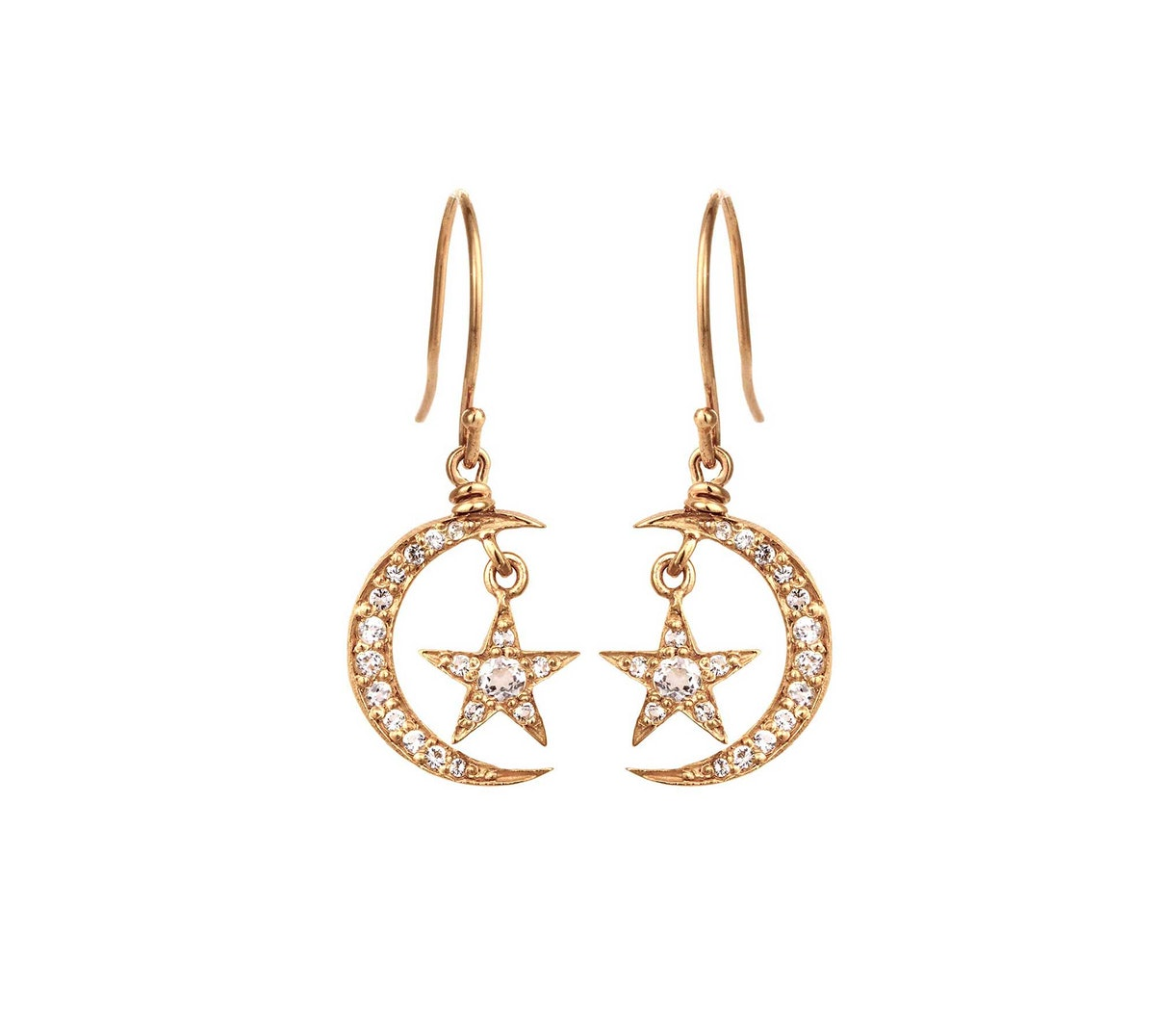 Blackbird and The Snow 14k yellow gold and diamond earrings